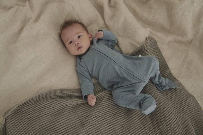 Babymori S Ribbed Sleepsuit Blue